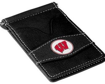 Wisconsin Badgers Black Leather Wallet Card Holder