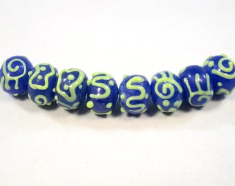 Blue and Green Lampwork  Rondelles  8 Beads  (10 x 12 mm)