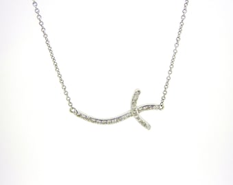 14K White Gold and Diamond Swaying Cross Necklace