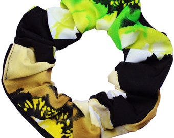 Black Floral Soft and Silky Scrunchies (Free Shipping Worldwide) Made in USA Ponytail Holder Hair Accessories