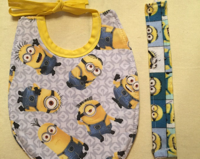 Baby Bib & Pacifier Clip Gift Set Mionions Inspired Fabric Design