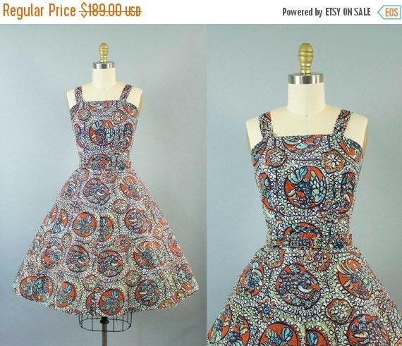 SALE 15% STOREWIDE 1950s rooster print cotton sundress/ 50s novelty print dress/ mode o day/ medium
