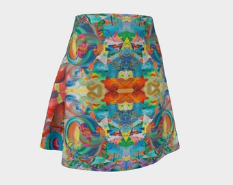 Lessons Flare Skirt, Rainbow, Neon, Abstract, Psychedelic, Trippy, Festival, Geometric, Art, Painting