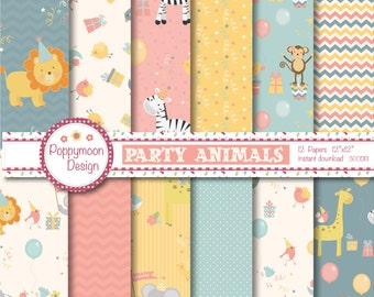 Party Animals ,  printable digital paper pack