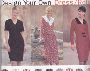 Simplicity 9137 Vintage Pattern Womens Dress with Fitted Bodice and Fitted or Flared Skirt in 9 Variations Size 20,22,24 UNCUT