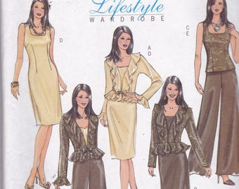 Butterick 4870  Vintage pattern Womens Jacket, Semi Fitted Dress and Top and Pants In Variations Size 16,18,20,22 UNCUT