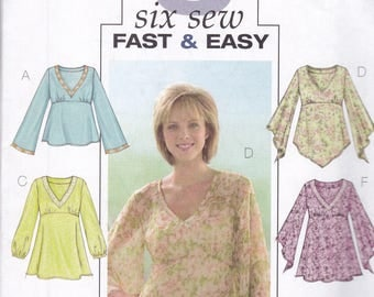 Butterick 4074  Vintage PatternWomens Tunic Top or BohoTop In 6 Variations Size 12,14,16 UNCUT