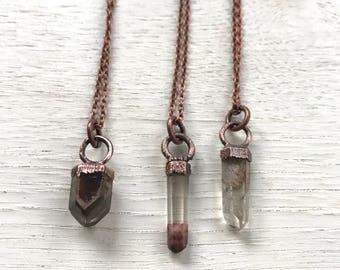 Les Petites Choses- copper and Garden Quartz necklace- minimalist jewelry
