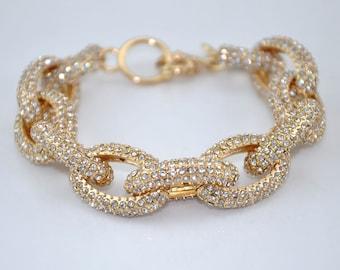 Classic pave link bracelet gold 4 rows glsaa small bracelet crystal bracelet