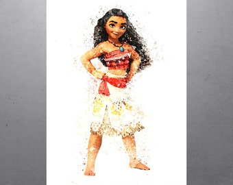 Moana Walt Disney Princess Poster, Kids Art Print, Kids Decor, Watercolor Contemporary Abstract Drawing Print, Nursery Decor