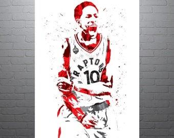 DeMar DeRozan Toronto Raptors, Sports Art Print, Basketball Poster, Kids Decor, Watercolor Contemporary Abstract Drawing Print, Modern Art