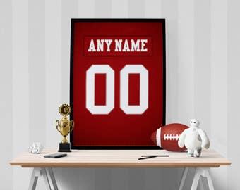 San Francisco 49ers Sports Jersey Art Print Football Poster Kids Decor Home Decor