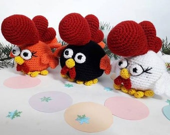 Stuffed rooster plush - Crochet rooster figurine - Rooster decor - Chinese New Year rooster - New Year souvenir - Rooster toy - Farm animal