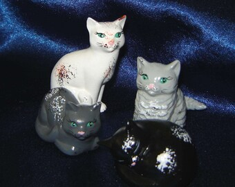 Miniature Ceramic Cats - Set of 4 - Group 11 - Miniature Animals - Ceramic Miniatures - Miniature Cats