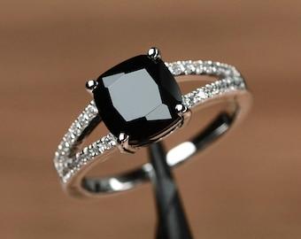 genuine black spinel ring cushion cut gemstone engagement sterling silver ring black gemstone ring