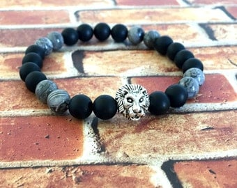Matte Black Onyx Grey Crazy Lace Agate Silver Lion Head Bracelet, Unisex Jewelry, Birthday Gift Ideas, Protection Bracelets, Onyx Bracelet