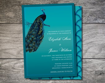 Peacock Wedding Invite Invitation 5x7 Digital
