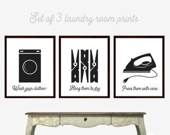 Laundry Room Art, Wash Dry Press, Set of Three Prints, Laundry Room Decor, Black and White, Modern Laundry Room