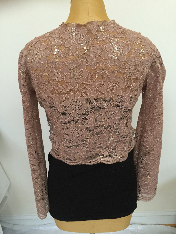 beige sequin lace shrug women 39 s sparkly beige bolero. Black Bedroom Furniture Sets. Home Design Ideas