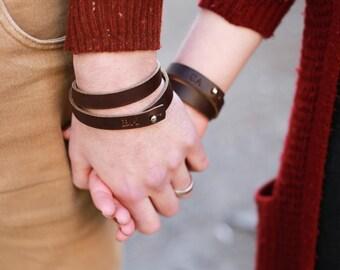 Leather bracelet set, engagement gift, couple bracelet set, wedding gift, personalized bracelet, leather bracelet, leather anniversary