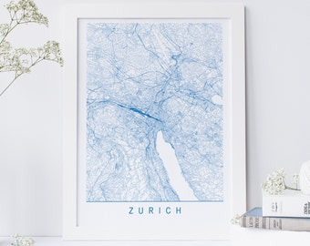 ZURICH MAP - Minimalist Zurich Art Print, Customizable City Map, High Quality Giclee Print, Modern Map Art