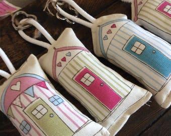 Fabric Beach Hut Key Ring, Handmade, Keyring, Key fob, Nautical, Seaside, Hand made, Padded, pink, green, blue and cream, Gift