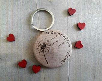 Dandelion Keychain, Dandelion Keyring, Dandelion Gift, Stocking Fillers, Personalised Keyring, Dandelion Keychain, Dandelion Wishes