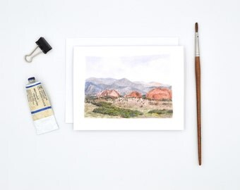 Colorado Springs Notecards - Watercolor Notecards - Wanderlust Stationary - Rocky Mountains Art Card - Colorado Gift - Blank Notecards  -