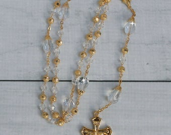 FAST SHIPPING!! Handcrafted Beautiful Gold Rosary Imported