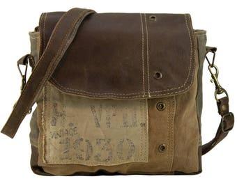Sunsa Messenger bag cross body shoulder canvas bag with leather Artno.: 51679