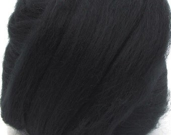 Merino Wool Combed Top/Roving by the Ounce or by the Pound - Raven Black