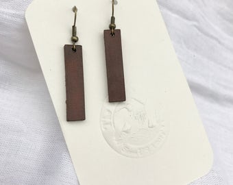 Handmade Leather Earrings - Leather Strip Earrings - Brown  Leather Earrings