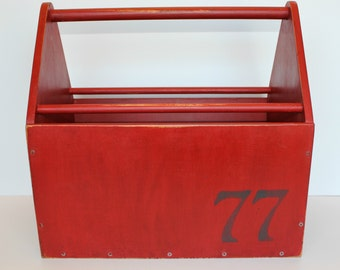 Vintage Painted Wood Box with Handle, Wood Tote, Wood Tool Box