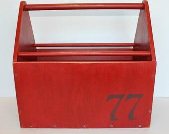 Vintage Painted Wood Box with Handle, Wood Tote, Wood Tool Box