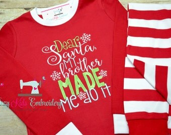 Christmas pajamas santa boy girl kid child baby toddler infant embroidery applique custom monogram name personalized santa train