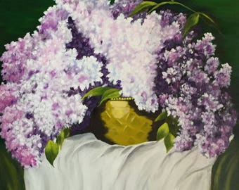 Acrylic Painting on Canvas,Acrylic Painting Flower,Original Wall Art on Canvas,Living Room painting, Bedroom Painting,Lilacs, White, Green
