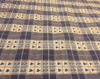 Beautiful 1990's Cotton Navy Blue Hearts Plaid Rectangular Tablecloth, Vintage Tablecloth, Clean!