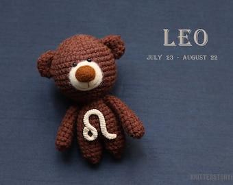 Leo zodiac teddy bear - crochet zodiac toy, Leo birthday present, horoscope Leo gift, Leo star sign, personalized teddy bear - MADE TO ORDER