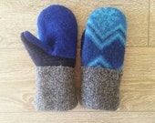 Bright Blue and Gray Wool Mittens // Upcycled wool mittens // sweater mittens // Handmade Mittens // LoveWoolies