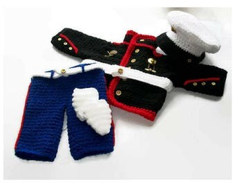 Baby boy crochet pattern, Marine Baby, Crochet Baby Pattern, Boys Marine Suit, Photo Prop Marine