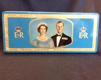 Vintage Souvenir Coronation 1953 Queen Elizabeth Prince Philip Biscuit Tin Blue Royalty Royals