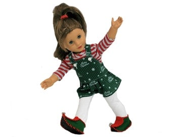 Red, White, Green Striped Shirt, Short-alls, Leggings, Elf Shoes for 18 Inch Dolls such as American Girl, Our Generation, Madam Alexander