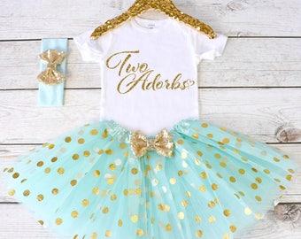 Two Adorbs. 2nd Birthday Outfit. Girls Birthday Outfit. Shirt. Birthday Tutu Outfit. Birthday Outfit Girl. 2nd birthday S1 2BD (AQUA)