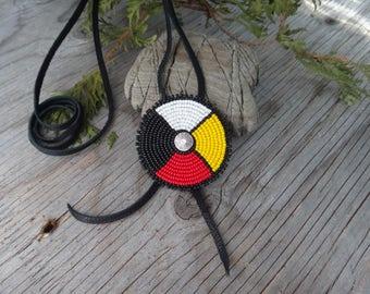 Native american necklace. Medicine wheel rosette. Four directions. Beaded rosette on deertan leather. Native american PowWow jewelry Men