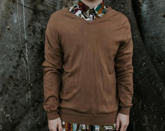 M Fine Merino Wool Tan V Necked Jumper Sweater