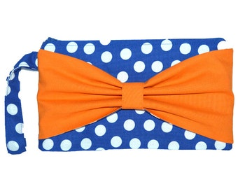 Blue and Orange Wristlet, Blue and Orange Purse, Wristlet, Handmade gift, Designer Handbags, Blue Orange Handbag, Polka Dot Wristlet