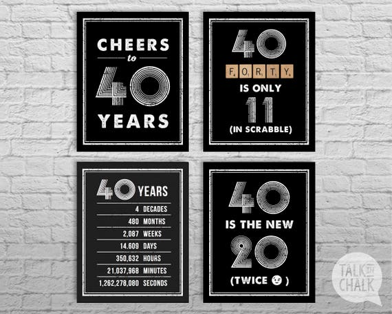 40th birthday sign pack 40th birthday digital posters cheers for 40th birthday decoration packs