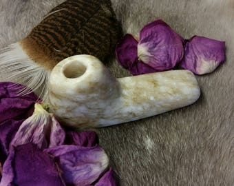 Agata Alabaster Stone Pipe Brown/Tan/Cream - Hand Carved and Polished with Beeswax