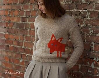 Wool sweater with fox, Women's wool fall sweater, hand knitted wool sweater, jumper handknit, cute warm winter woolen sweater animal