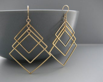 Gold Square Earrings - art deco wedding earrings, architectural jewelry, math teacher gifts - Tiered
